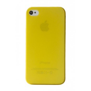 Чехол пластиковый iHappy 0.35 mm Ultra Thin Cover YELLOW для iPhone 4/4S